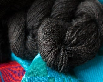 3 ply Sport Weight Wool Yarn Natural Charcoal Color Crossbred