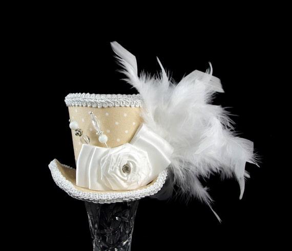 Beige and White Polka Dot Rosette Medium Mini Top Hat Fascinator, Alice in Wonderland, Mad Hatter Tea Party, Derby Hat