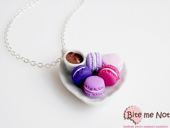 Mini Food Coffee and Macarons Necklace, Miniature Food Jewelry, Polymer Clay Sweets, Coffee Jewelry, Macaroon Necklace, Macaron Jewelry