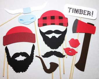 12 Lumberjack Photo Booth Props - Lumberjack Photobooth - Lumberjack Birthday Props - Lumberjack and Jill Party - Paul Bunyan Photo Props