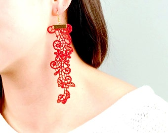 SALE red lace earrings // long dangle earrings // gold earrings // boho chic // Fabric jewelry - gift for her