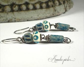 SRA handmade lampwork beads and sterling silver wire earrings, Rustic, Artisan, OOAK jewellry