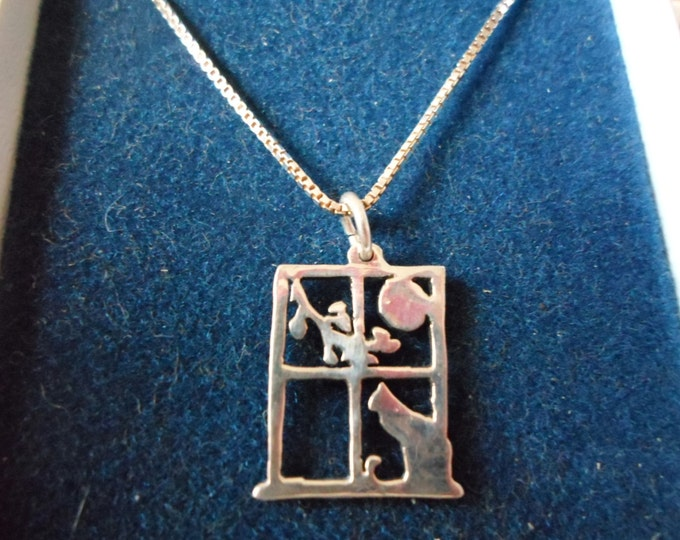 Cat in window necklace quarter size w/sterling silver chain