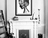 "Art print from original watercolor fashion illustration. 18x24"" Large print - Black silhouette wall art. Modern wall art. Bathroom decor"