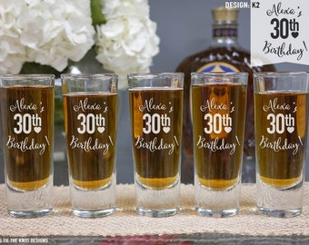 Happy Birthday Personalized Shot Glass (ONE) Custom Engraved Shooter Shot Glass, Happy Birthday Gift, Personalized Gift, Party Favor