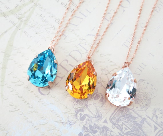 Rose Gold FILLED Swarovski Crystal Teardrop Necklace - rose gold weddings brides bridesmaid bridal shower gifts necklace
