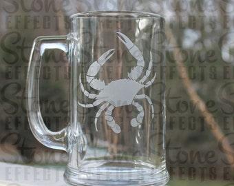 crab, maryland, Beer Mug, Etched beer mug,  personalized etched mug, Maryland crab, 16oz. -  Engraved Beer Mug, beer mugs, etched