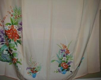 KIMONO Handpainted Vintage Japanese Silk Kimono,Handpainted Ikebana Flowers Silk Kimono,Silk Kimono Flowers,  Boho Pink Silk Japanese Kimono