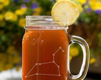 Leo Constellation Customizable Etched Canning Jar Mug Glassware Gift