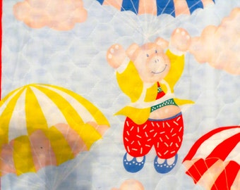 Quilted Fabric Panel Baby Parachutes Pigs Quilt Vintage