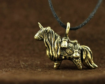 Horse Unicorn Pony bronze pendant necklace