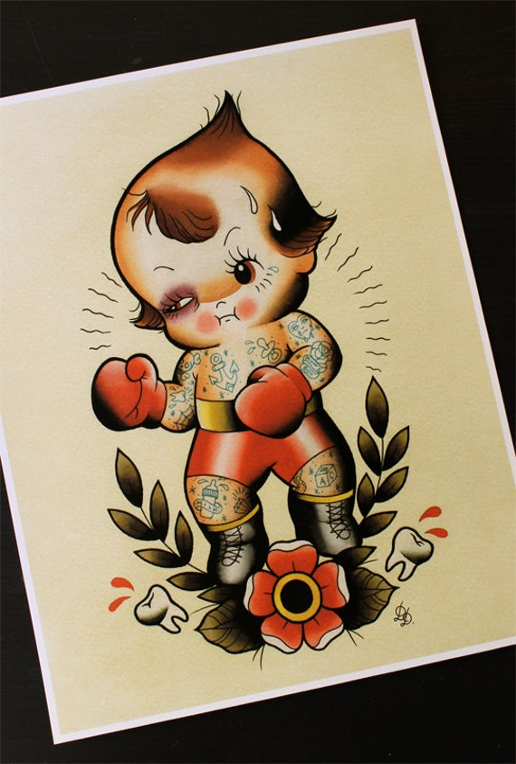 Black Baby Doll Tattoo: Kewpie Boxer Traditional Tattoo Flash Print 11x14