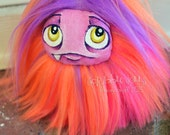 Monster Plush. Pocket Fluff Monster, a neon pink orange and purple plush monster art doll toy plushie