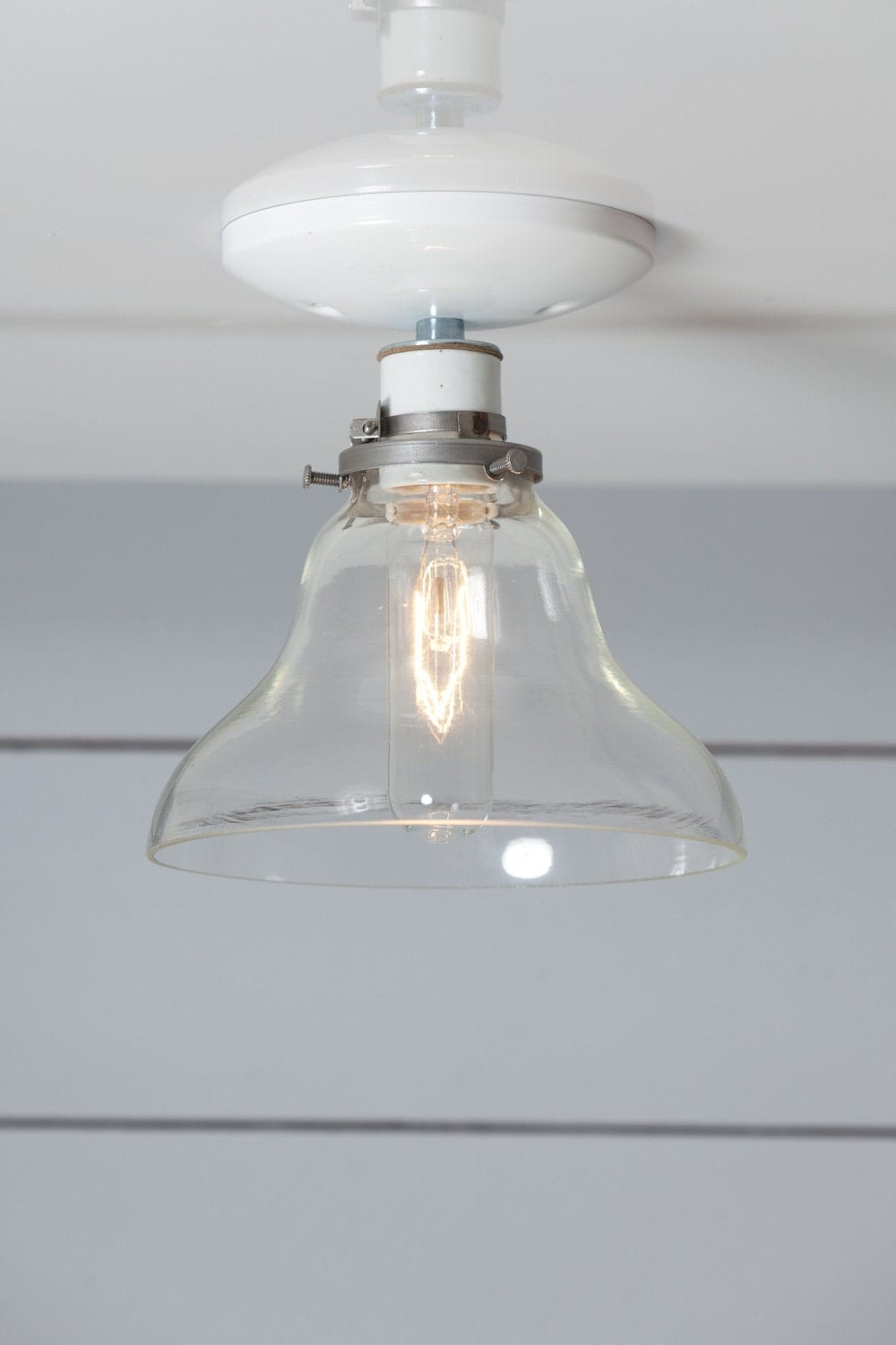 Ceiling Lights Glass Shades : Industrial ceiling mount light glass bell shade semi flush
