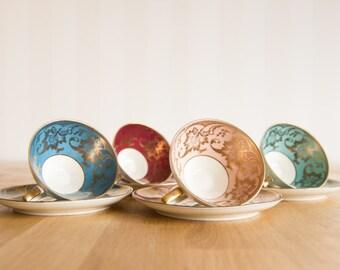 Alka Kunst Bavaria Colorful 8 piece Teacup & Saucer Set