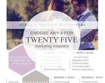 Choose Any 3 Marketing Templates For Twenty-Five | Photography Marketing Templates