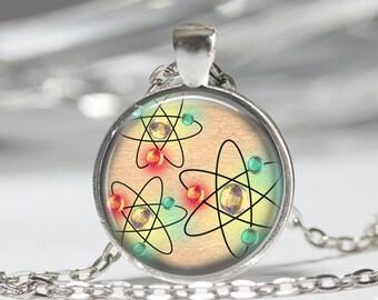 Vintage Atom Pendant Necklace Jewelry Atom Keyring Atom Jewelry Atom Pendnat Sceince Math Nerd Phisics Chemistry Atomic