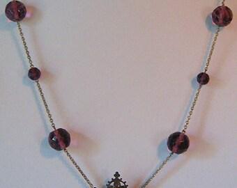 Vintage Art Nouveau Revival PURPLE Faceted Glass Beads Genuine PEARL Brass NECKLACE