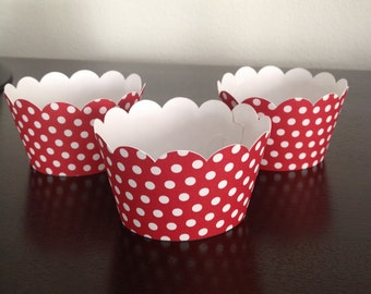 12 Cupcake Wrappers - Red w/ White Polka Dots