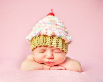 Sweet Lil Cupcake Hat - Baby Crochet Hat - Newborn Photo Prop - Other Colors Available - Photo Prop