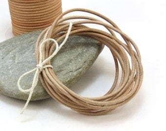 Natural Tan Leather Cord, 2mm Leather Cord, 5 Yards, Leather Necklace Cord, Item 291ct