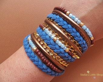 Blue Boho Bracelet, Wrap Bracelet, Beaded Bracelet, Leather Bracelet, Braided Bracelet, Triple Wrap