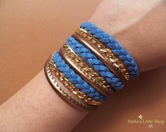 Braided Wrap Bracelet, Leather Bracelet, Blue Braid, Triple Wrap, Boho Bracelet, Fashion Bracelet, Gift
