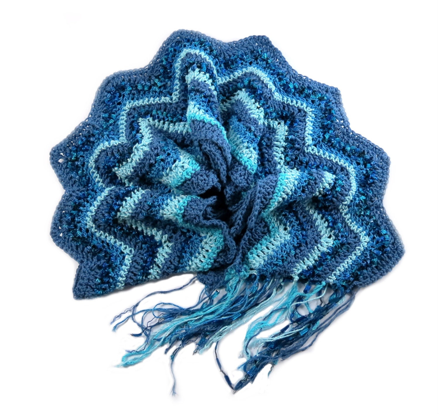 cotton crochet scarf with chevron pattern unique by