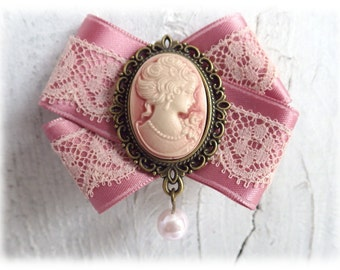 Victorian Princess - bow brooch with pink Lady Cameo