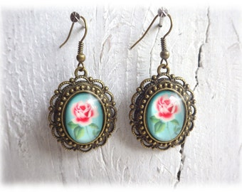 Rosali - Earrings vintage style bronze romantic turquoise rose