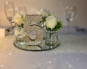 Set of 12 champagne glitter luxury wedding table numbers Wedding table decoration Freestanding wooden wedding table number