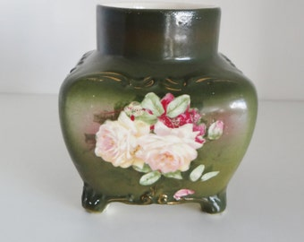 Vintage Pottery Vase Small Antique Vase With Decorative Feet Cream, Pink and Crimson Flower Transfer Late Victorian Circa 1900's