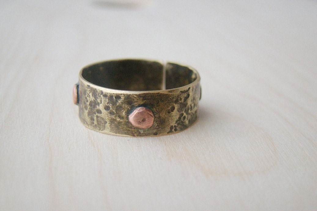 Mens Wedding Band Hammered Ring Cool Mens Ring Antique