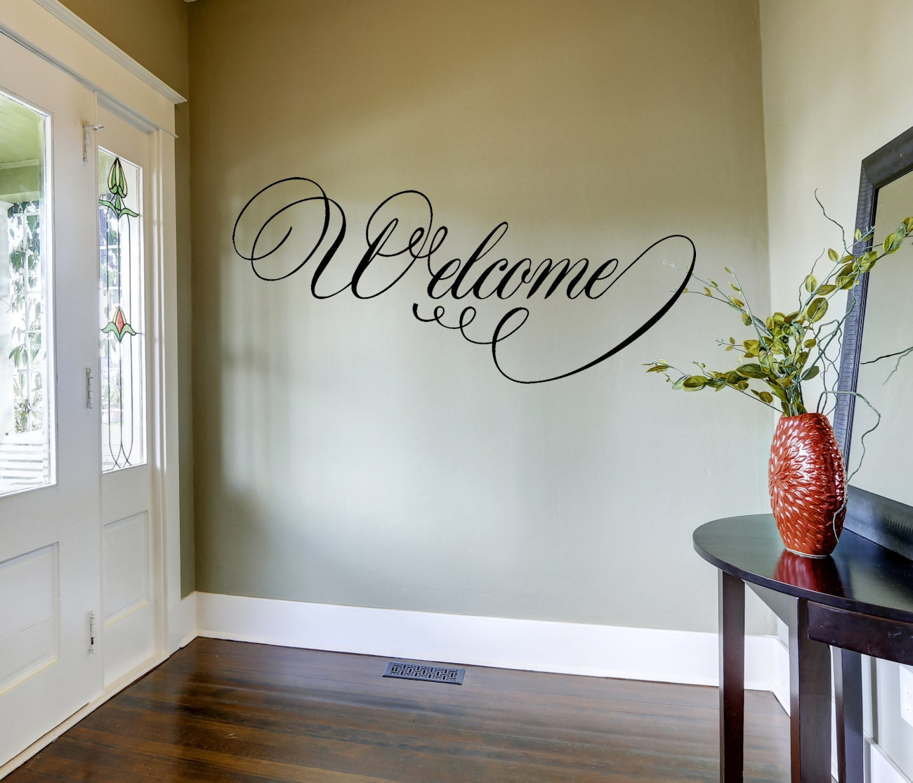 welcome wall decal home decor home and living vinyl wall zoom