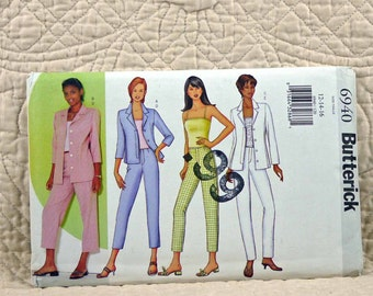Jacket Top Pants, M L, Butterick 6940 Pattern, Unlined, Princess Seams, Pullover, Tapered, 2000 Uncut, Size 12 14 16
