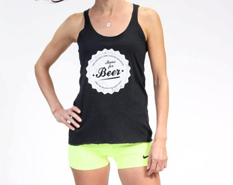 S - Runs for Beer  Women's Racerback Running Tank -Women's - by Runner's Booty (Small)