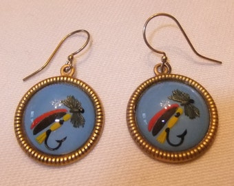Reverse Painted Glass Earrings, Fly Fishing and Tackle Motif