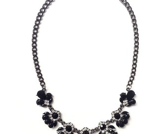 Black statement necklace, black bib necklace, gift ideas under 15