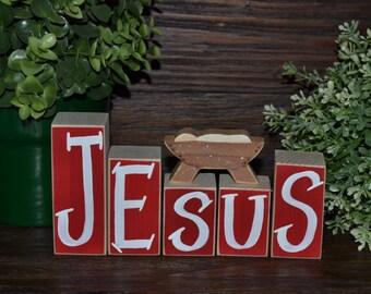 JESUS Blocks Religious Holiday Decor Religious Christmas Decor Holiday Decoration Nativity Jesus Blocks Stacking Blocks Holiday Religious