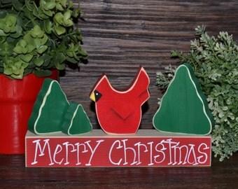 Cardinal Holiday Block Set Christmas Decor Christmas Block Set Cardinal Decoration Christmas Trees Housewarming Gift Hostess Gift Set