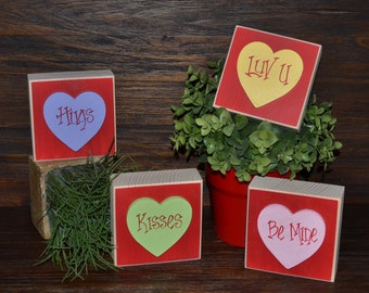 Sweetheart Valentine's Day Decor Wood Stacking Blocks of Love Set Valentines Decoration Block Set Mantle Decor Hugs Kisses Be Mine Love You