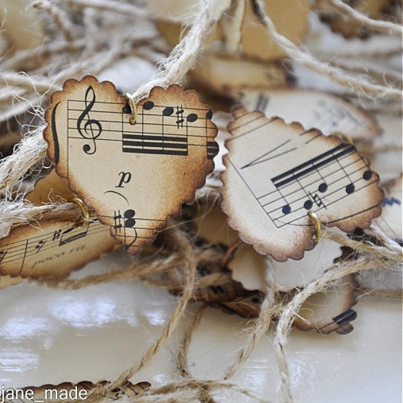 Vintage Paper Music Hearts Wedding Decoration By