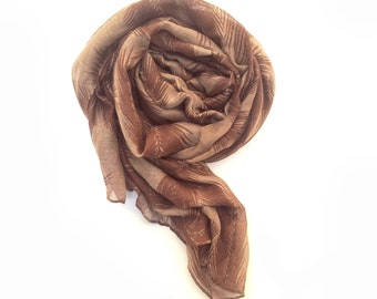 Women's botanical print scarf / brown Shawl/ winter scarf