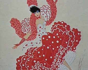 Erté Art Deco Dress Design Mounted Vintage Original Art Print 1978 'Bal Tabarin, Can-Can' Mounted and Ready to Frame
