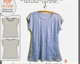 "Eliza Tshirt, Womens PDF sewing pattern & guidebook - Size 000 - 6.  Instant Download. Bust measurement 101cm (39 3/4 "") to 141cm (55 1/2"")"