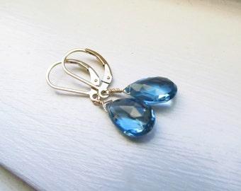 London blue topaz earrings bridal earrings something blue November birthstone