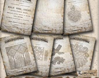 Victorian Digital Printable Art Journal Kit - Vintage Needlework Smashbook - Junk Journal - Digital Collage Instant Download - Journaling