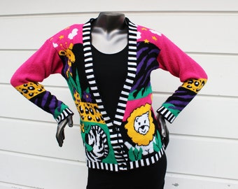 80s Kawaii Zoo Animals Cardigan
