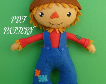 PDF sewing pattern to make felt scarecrow.