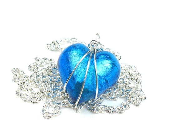 Aqua Blue Heart Necklace in Venetian Murano Glass with Silver Chain and Wire Wrapped Pendant
